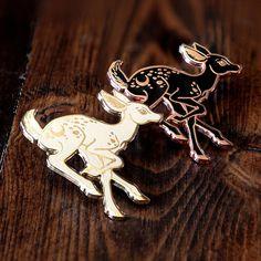 Pastel Moon and Stars Deer Pin Soft Enamel Silver Woodland Enamel Pin Deer Fawn Enamel Pins