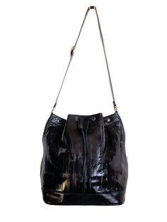 10b45e891fb39 Authentic Vintage exotic EEL skin Genuine Glossy Black Leather Unique  Handbags, Handmade Handbags, Leather