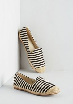 Stripe a Chord Flat in Black - Spring, Black, White, Stripes, Casual, Nautical, Summer, Good, Flat, Woven