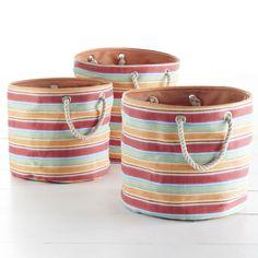 Wisteria - Accessories - Storage - Striped Barrel Bags - Orange - Set of 3