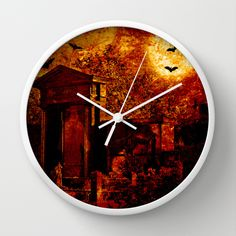 Tales of the crypt Wall Clock Somebody's ghost is leaving his crypt in an eerie fullmoon night.  Edited photo of my own with some layers and texture.   Creepy, halloween, ghost, spooky, graveyard, cemetery, uncanny, supernatural,  trees, silhouettes, fence, fullmoon, bats, animals, dark, red, black, eery, scary