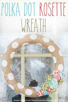 Polka Dot Rosette Wreath   #Wreath #PolkaDot #Flowers #Twine