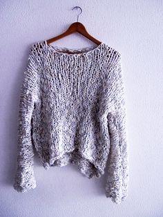 Jersey  slouchy  suéter de punto suave  por armarioenruinas en Etsy