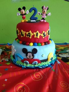 Two tier mickey mouse cake for a boy 2nd birthday party disney philly phila philadelphia pa cherry hill new jersey nj