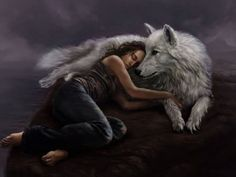 Arctic Wolf and Woman