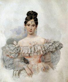 Александр Брюллов. Портрет Н.Н. Пушкиной 1831 г.