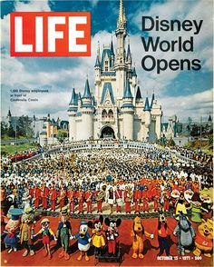 Walt Disney World Magic Kingdom opened October and LIFE magazine did a great issue on it - see cover above. So, today, let's g. Retro Disney, Disney Love, Disney Magic, Disney Stuff, Disneyland Vintage, Parc Disneyland, Life Magazine, Magazine Stand, Disney Parks