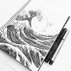 "Gefällt 9,711 Mal, 27 Kommentare - Black and White Illustrations (@blackworknow) auf Instagram: """"Oriental Classic Waves"" by @organiclines 