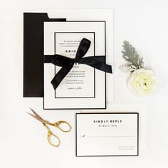 SAVE THE DATE  Ivory linen Save the Date  Black lined ivory matte envelope (A7)  *Includes complimentary guest and return address printing*  1-49: $3.00 per  50-99: $2.75 per  100+: $2.50 per  --------------------------------  INVITATION SUITE  Quadruple layered ivory linen and bla