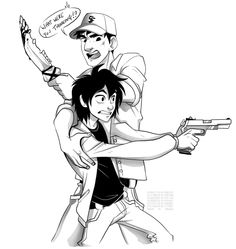 frick-sticks-and-gay-chicks:nerdinbinary:Doodle for frick-sticks-and-gay-chicks for their BH6/Supernatural Crossover Hiro has obviously never held a gun in his life and thought he could use some form of invention to take out a whole nest of vampires. Better luck next time.   dis fo me!!!! :O