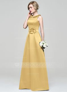 A-Line/Princess Scoop Neck Floor-Length Satin Bridesmaid Dress With Flower(s) (007074181)