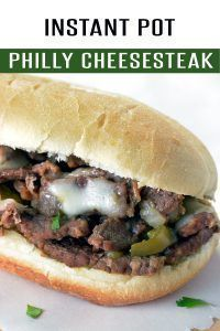 Easy Philly Cheesesteak Sandwich loaded with ribeye, cheese and flavor! Ready in just under 25 minutes using your Instant Pot. This Instant Pot recipe will be a family favorite! Find more at FoodieandWine.com! #instantpotrecipe #dinnerrecipes #30minutemeals #instantpot #dinner
