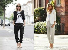 Dress up a pair of joggers with a blazer.