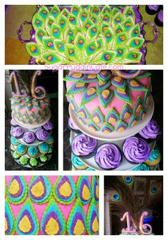 Peacock Cake and Cookies by Sugar Puddin Cafe Peacock Cake, Crochet Necklace, Sugar, Cakes, Crochet Collar, Cake, Pastries, Torte, Tarts