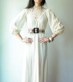 Vintage 70's Sheer Cream Lace Crochet Chiffon Mesh Maxi Victorian Romantic Billowy Dress ...I want this