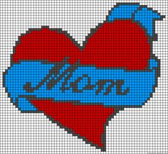 Heart mom love perler bead pattern