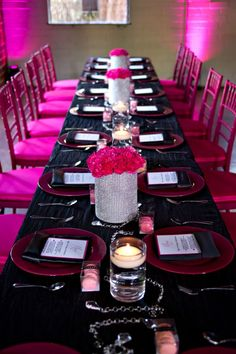 ellyB Events Birthday Party: Talking with Tami Celebrity Blogger / pink, black & bling tablescape