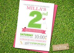 2nd Birthday Invitation - Garden Party, 1st, 2nd, 3rd or 4th Birthday Party 6x4 or 5x7 blue, pink, green, orange purple, butterfly ladybird