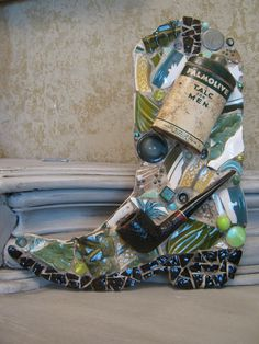 Mosaic Cowboy Boot in Greens with Pipe and Vintage Talc Tin Mosaic Art