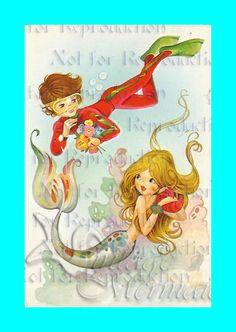 FABRIC BLOCK s459 Vintage Retro Mermaid Print Quilt by wwwvintagemermaidcom, $7.00