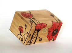 Personalized Poppy Flower Wedding Gift Card Box Or Trinket Wooden Box