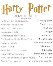 a Harry Potter Workout - Sisters, What! For while you watch the movie of course Harry Potter Film, Mode Harry Potter, Harry Potter Jokes, Harry Potter Fandom, Harry Potter Things, Harry Potter Marathon, Disney Movie Workouts, Tv Show Workouts, Fun Workouts