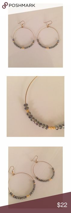 "Bluish/gray & gold beaded hoop earrings Bluish/gray & gold beaded hoop earrings. Measure 2.25"" long and are such a cute addition to any outfit! Great everyday earrings! Jewelry Earrings"