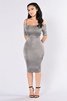 - Available in Grey - Off Shoulder Dress - Midi Length - Body Con - 63% Polyester, 30% Rayon, 5% Spandex