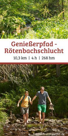 """Dieser Genießerpfad führt uns auf anspruchsvollen Wegen durch die urwüchsige Rötenbachschlucht bis zur Wutachmündung. Nach einem Anstieg erreichen wir den Aussichtspunkt """"Am Hörnle"""". Ein herrliche Ausblick bis zum Feldberg."""