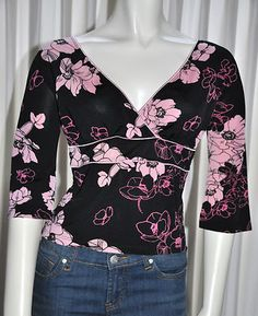 Womens Top Size Medium Om Pink  Black Floral Blouse