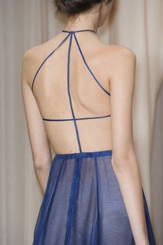 Valentino Spring 2015 Couture - Strappy blue sheer dress