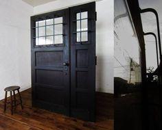 アンティークゆらゆらガラス&鉄格子のドア建具扉鋲打真鍮/59000円 〆02月12日