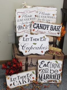 Fall Wedding Sign Set/Fall Leaves/Photo Prop/Great Shower Gift/Rustic/Beach/Vineyard/Woodland