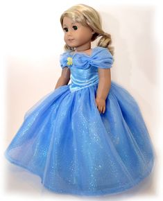 Cinderella Blue Ball Gown for American Girl Dolls
