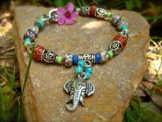 GANESH YOGA BRACELET silver natural beads gypsy sun by GPyoga, $29.00