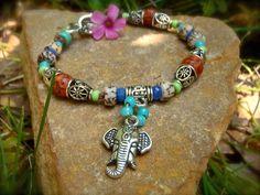 GANESH YOGA BRACELET silver natural beads gypsy sun by GPyoga, $29.00