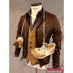 Composizione P/E '17 • #primavera #spring #estate #summer #giubbino #pelle #leather #jacket #leatherjacket #ceralacca #gilet #sanfrancisco976 #camiciajeans #dondup #serafino #buttontee #bellwood #sneakers #diadora • #macelleria #mestre