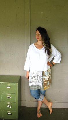 upcycled clothing Eco wearable art dress Romantic tattered dress Bohemian Tshirt dress Mori girl Lagenlook tunic Xlarge-1X-2X-3X