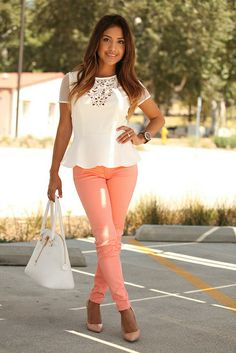 Peach pants and cute blouse