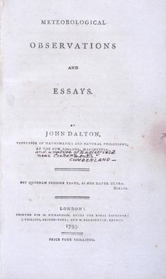 Meteorological Observations and Essays (1793) by John Dalton