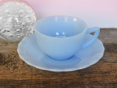 Vintage Pyrex Delphite Cup and Saucer, Piecrust Pattern, Pale Blue milk glass, made in Canada circa 1950, Rare Pyrex