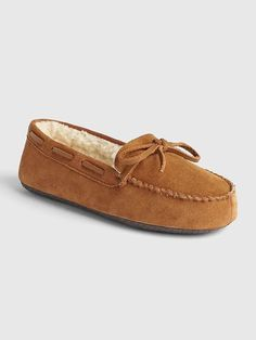103836ae6c8 Gap Men s Suede Moccasin Slippers Cognac