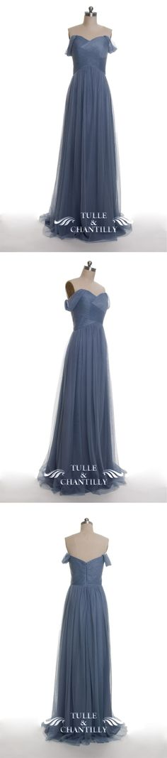 dusty blue tulle off shoulder bridesmaid dresses long