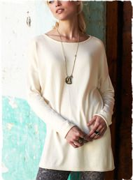 Luxurious in its simplicity, our fine gauge tunic is knit in a butter-soft blend of pima (60%) and modal (40%). With a boatneck and drop sho...
