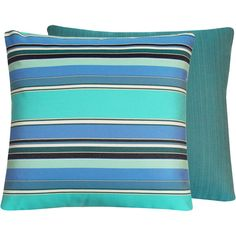 Sunbrella Outdoor Blue Throw Pillow Cover 20x20 Reversible - Flips to Colorful Stripes or Ribbed Stripes - Malibu Cove Collection