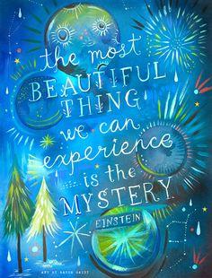 Geheimnis | Aquarell-Angebot | Himmlische Wandkunst | Einstein-Print | Schriftzug | 8 x 10 | 11 x 14