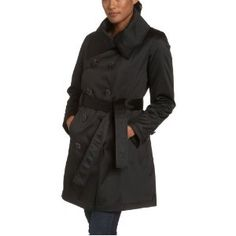Jones New York Women's Satin Double Breasted Belted Coat (Apparel)