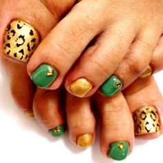 Green and gold pedicure with animal print. #USF