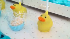 the cakepops for this rubber duck themed party