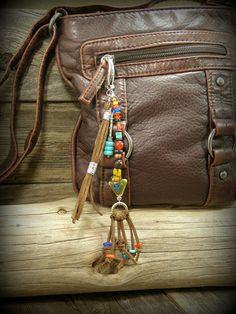 Purse Charm Tassel, Zipper Pull, Beaded Purse Charm, Bohemian Clip, Boho Zipper Pull,  by StoneWearDesigns